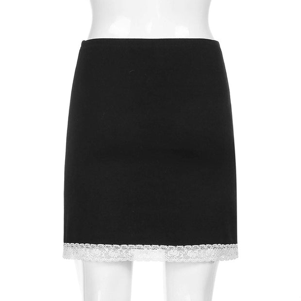 Black Women's Mini Skirt - Lace Hem