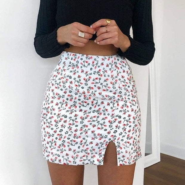 White Women's Mini Skirt - Floral