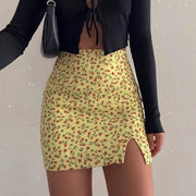 Yellow Women's Mini Skirt - Floral