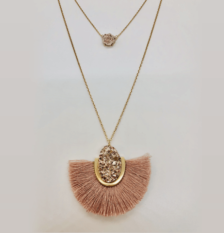 Layered Drusy Tassel Necklace