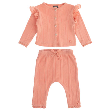 Organic Pointelle Cardigan and Pant Set