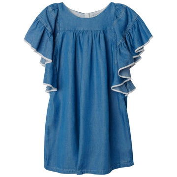 Denim Dress with Ruffled Sleeves