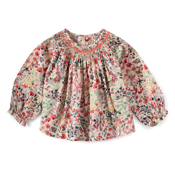 Griotte Raspberry Floral Smocked Blouse