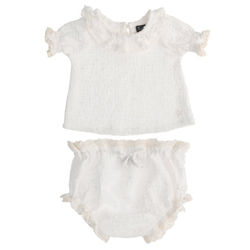 Swiss Embroidery Blouse and Bloomer Set