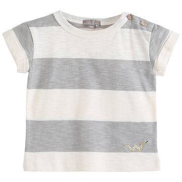 Baby Ecru Argyle Striped T-Shirt