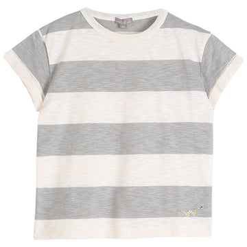 Kid Ecru Argyle Striped T-Shirt