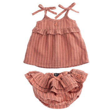 Striped Organic Cotton Baby Dress and Bloomer