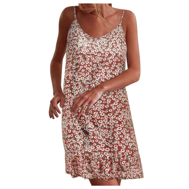 Dress Floral Summer Party Beach Sexy neck