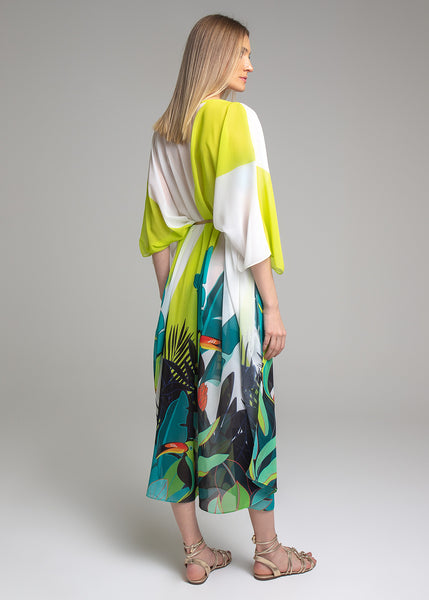 KAFTAN CREPE SILK TROPICAL COLLOR