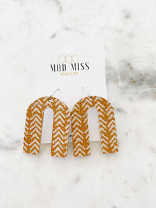 Mustard Chevron Cork Leather Arch Earrings