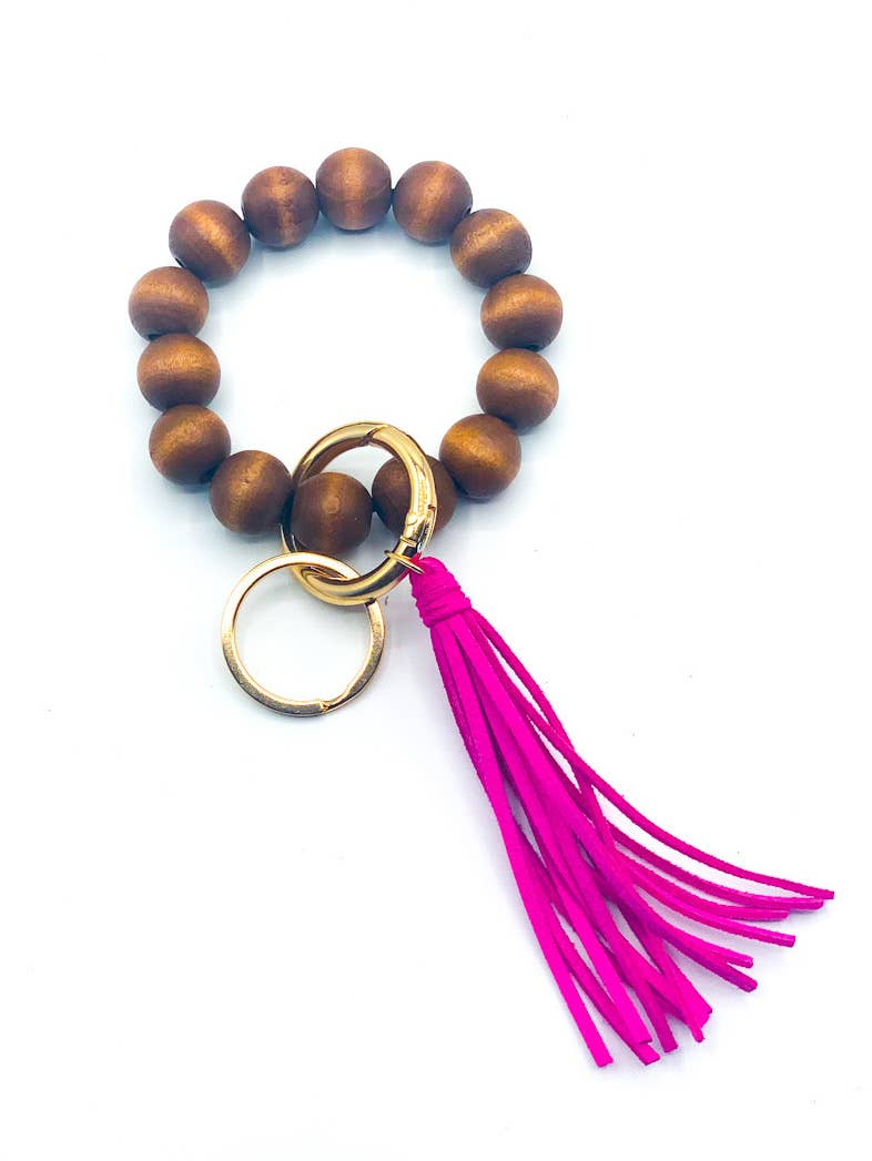 Beaded Keychain- hot pink