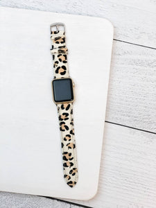 White Leopard Textured Leather Smart Watch Band