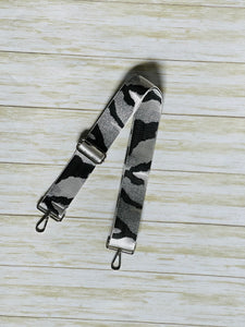 Silver and Black Camo Bag strap