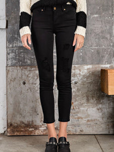 Claire Black Distressed skinnies