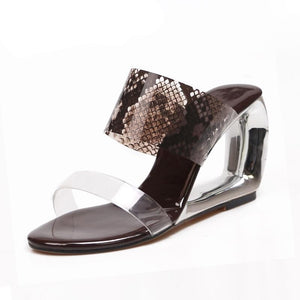 Transparent Snakeskin Designed Sandals