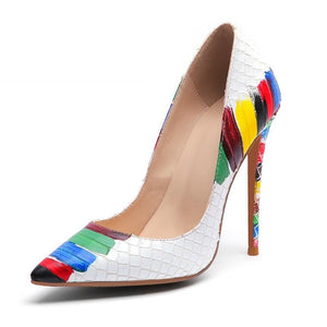 Colorful Crocodile Skin High Heels