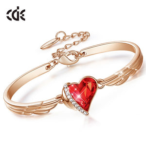 Red Heart Crystal Bangle