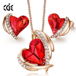 Heart Designed Necklace & Earrings Set