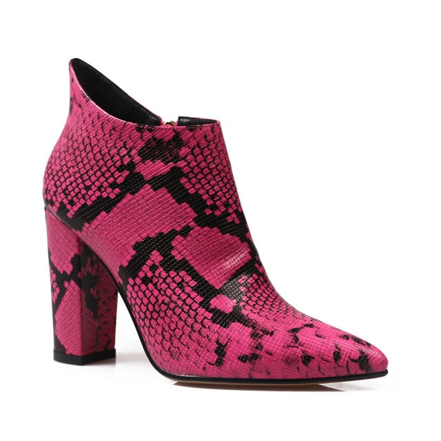 Snakeskin Fashion Pointed Boots