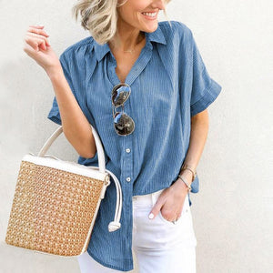 Stripe Printed Short Sleeve Blouse