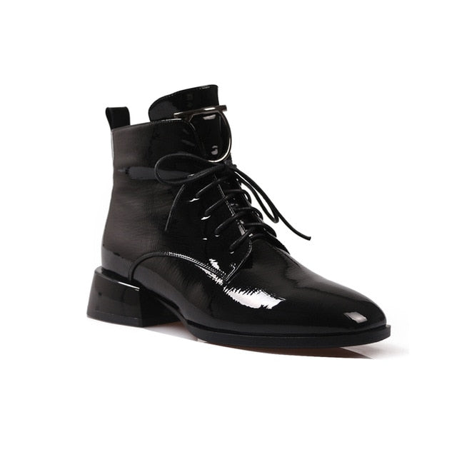 Ladies Square Toe Ankle Boots