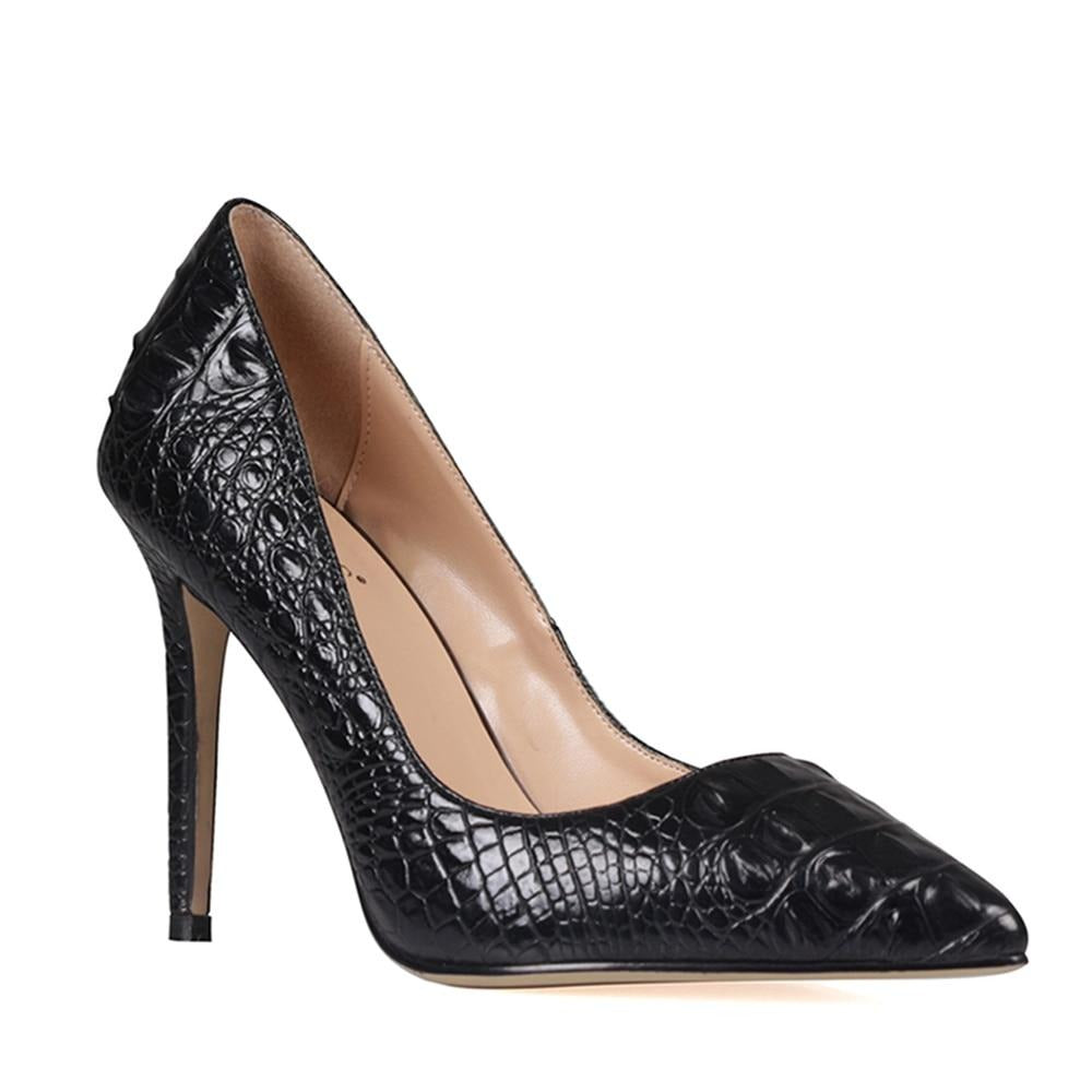 Embossed Pointed High Heels