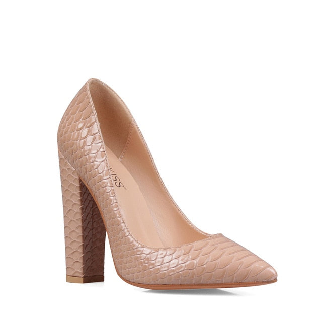 Sexy Embossed Thick Heel Shoes