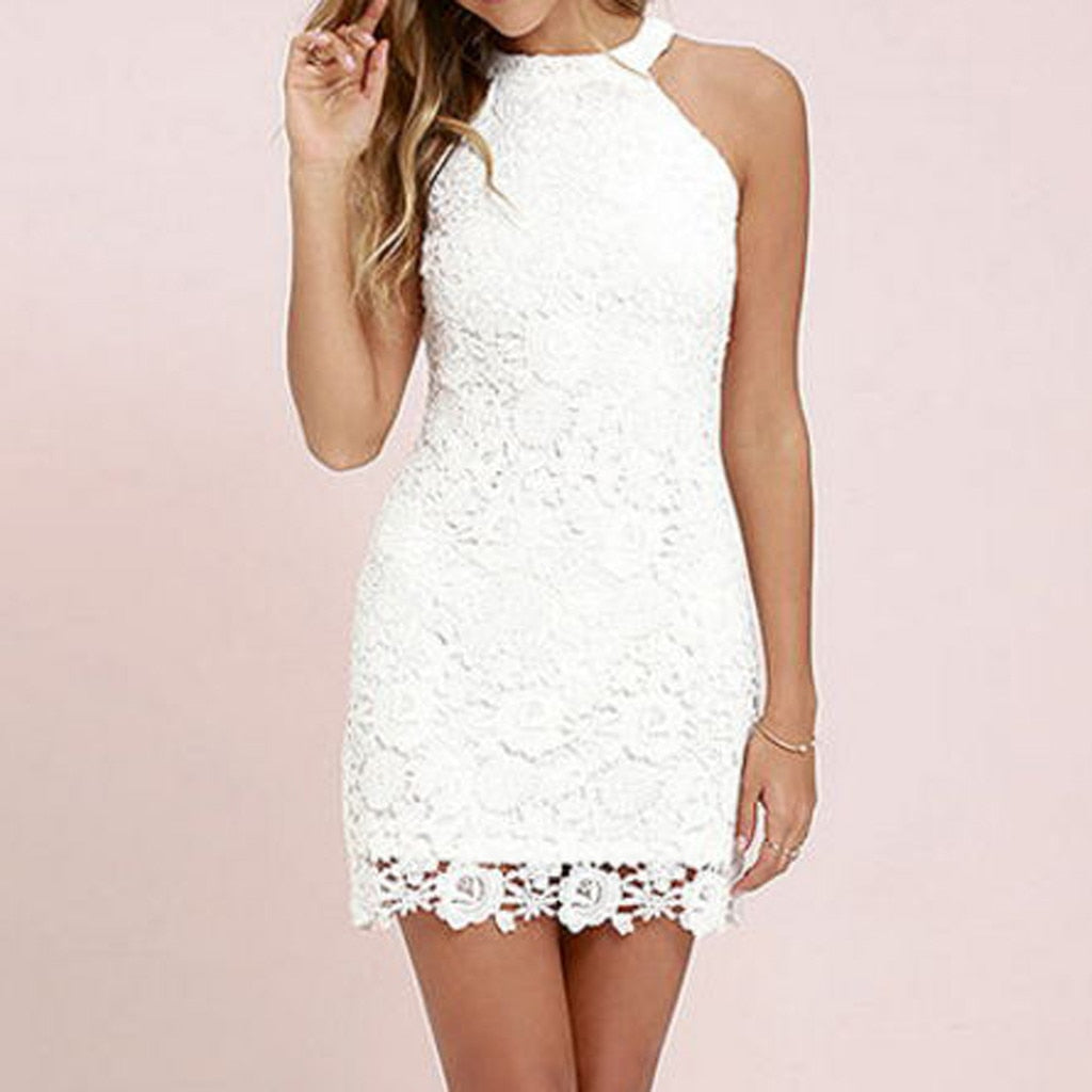 Sleeveless Lace Slim Dress