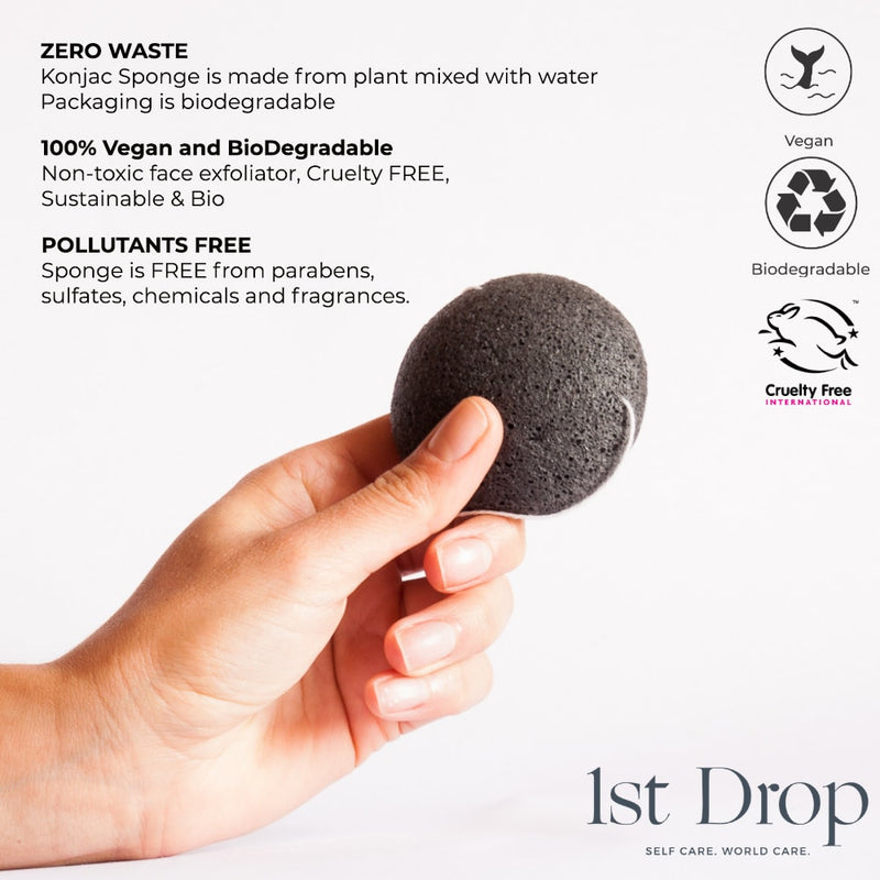 Konjac Sponges with Activated Bamboo Charcoal - 2pack