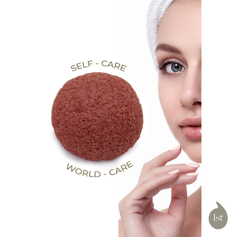 Konjac Sponges with Red French Clay - 2 pack
