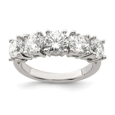 Sterling Silver 5-Stone Cubic Zirconia Ring