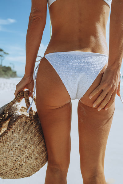 Salty Luxe Swim White bikini bottom shop MUDE