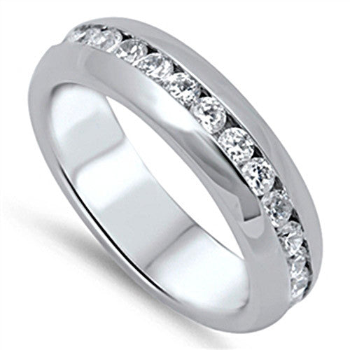 adele his hers matching set cz stainless steel wedding ring set - Stainless Steel Wedding Ring Sets