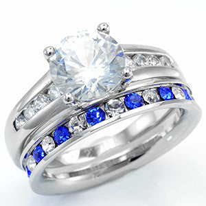 samiras stainless steel round cut ring with sapphire eternity wedding ring set - Stainless Steel Wedding Ring Sets