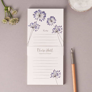 Each notepad is cellophane wrapped Belly band detailing product on each notepad Sold with Magnetic strip Printed in the UK on premium 120gsm paper FSC Accredited Size: 21 x 9.9cm