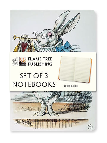 A set of three pocket-sized, foiled and ruled notebooks, each with a different cover by Sir John Tenniel - The White Rabbit, Alice and the Cheshire Cat, and Alice Meets the Caterpillar. With sturdy covers and rounded corners, they are perfect to be carried everywhere.