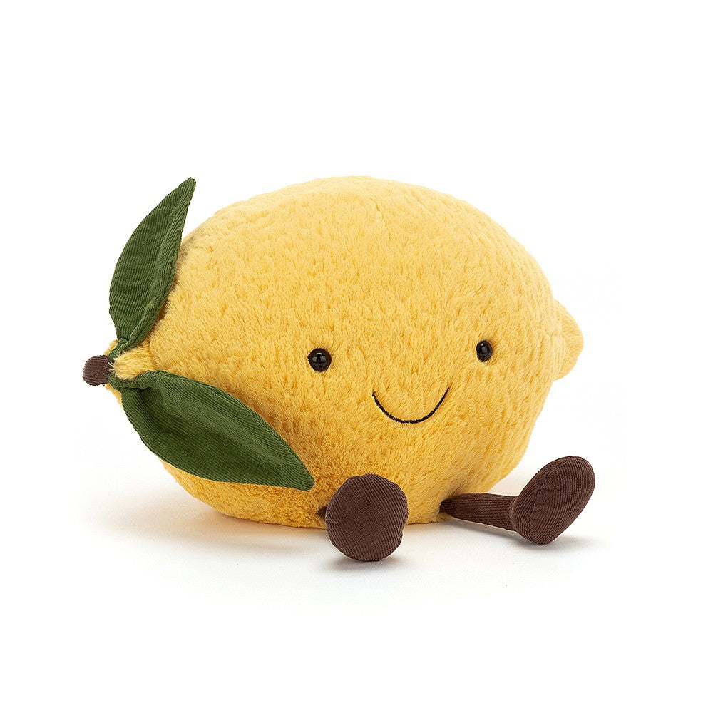 Amusable Lemon is sweet, not sour, and full of lemon-grove groove! A squishy citrus with tussly fur in gentle yellow tufts, this loveable lemon is dressed with zest. You've got to love those brown cordy boots, that nubbly stalk and snazzy cordy leaf! Size - H22cmxW27cm