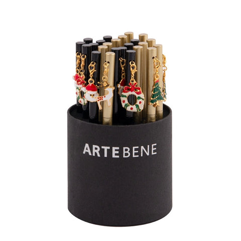 A black pen with a removable Christmas themed charm. Twist to use. Perfect stocking filler!  Comes with a black cardboard box.