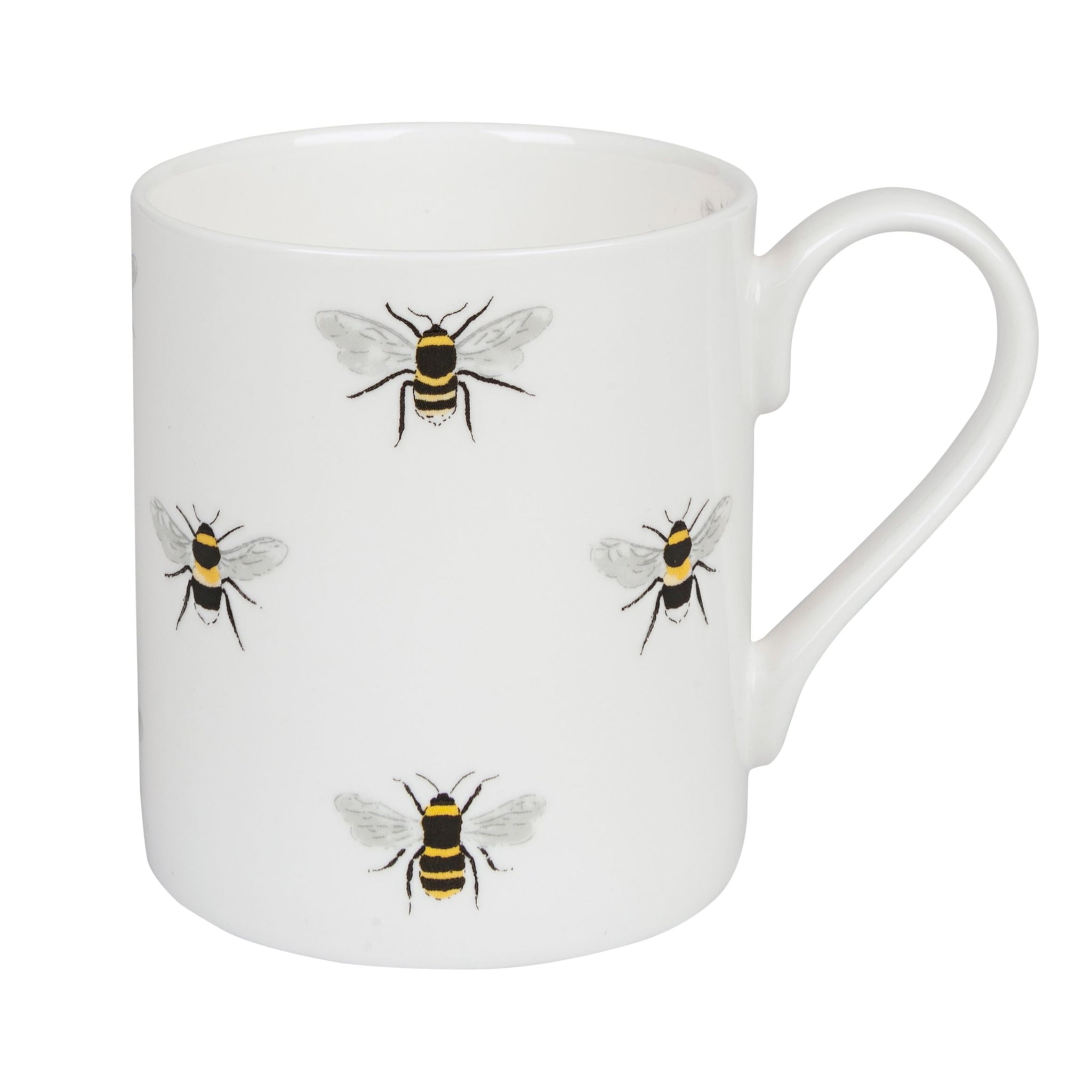This gorgeous fine bone china white mug is covered in bees. Inspired by the bees buzzing round Sophie  Allport's garden it would make a lovely little gift.  Fine bone china Comes in a smart gift box Dishwasher and microwave safe 8.3cm high 275ml capacity