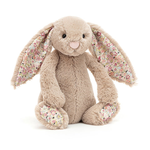 Blossom Bea Beige Bunny can't wait to go to the park! This snuffle-sweet chum has the softest truffle fur and ditsy-print floral ears and paws. Bright-eyed and bobtailed, Bea's ready for a picnic! Anyone bring carrots?