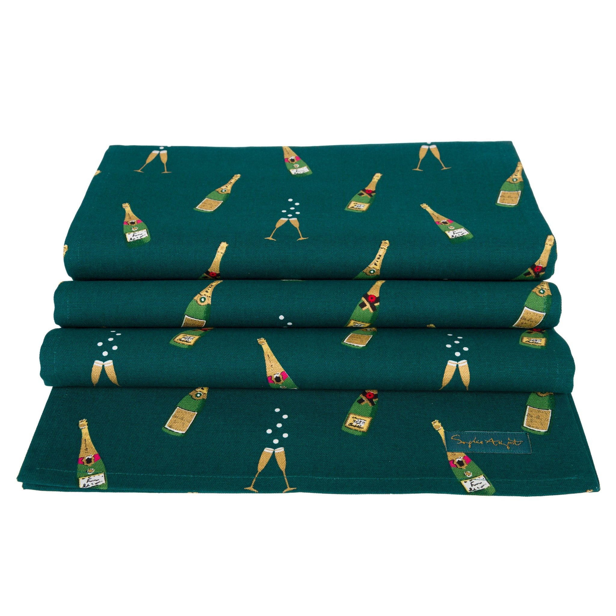 Champagne flutes and bottles of fizz pop out from the teal green background on this superb celebration table runner. Ideal for birthdays, engagements...or any other celebration!  W35 x L280cm 100% cotton Machine washable at 30 degrees