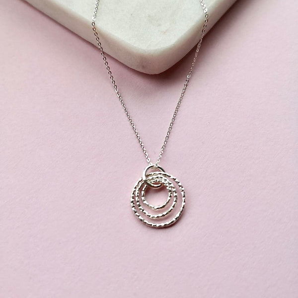Bubbles Silver Hoops Necklace