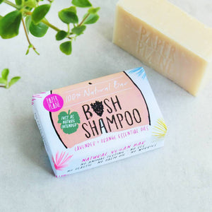 A 100% vegan bush shampoo and shave bar for those sensitive areas. A perfect cheeky gift, which celebrates the female body!  This handmade, vegan solid shampoo bar creates a smooth rich lather, which nourishes and softens even the wildest bush, and makes for a soothing shaving lather, too.  Perfect for a quick shave in the shower or bath.  The paper packaging is secured with biodregadable clear stickers.  No plastic. No palm oil. No sulphates. No triclosan. No phthalate. No cruelty. No worries.