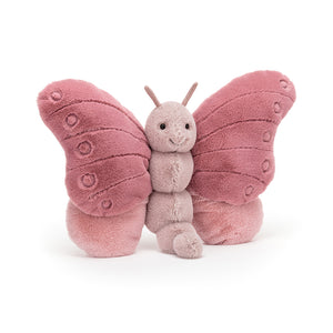 Fluttering in with a cheeky grin, it's beautiful Beatrice Butterfly! Rosy and cosy with a beany bottom, soft textured wings and suedey antennae, this bobbly buddy loves yummy nectar and playing all day in the garden!