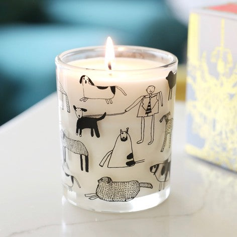 Margaret Mace's delightful linework decorates this organic plant candle infused with the scent of rhubarb and ginger. This organic plant wax candle has been specially made in the UK for ARTHOUSE Unlimited, and has no animal or paraffin-derived ingredients. The beautifully adorned glass casing is completely reusable. Once you've finished burning the candle, just clean thoroughly and it can be used as a beautiful glass or vase.