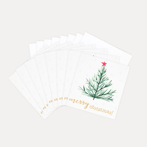 This charity pack of 8 Christmas cards features a beautiful christmas tree with a bright pink star and gold handwritten text. These fun and festive cards with luxury finishes are packaged in our environmentally friendly bags made of recycled bottles, that have replaced the cellophane this year!  Dimensions: 146mm x 140mm Pack of 8 cards with 8 envelopes 30p from each pack is donated to Meningitis Now Meningitis Now charity logo is printed on the inside left of each card Message inside - 'merry christmas and