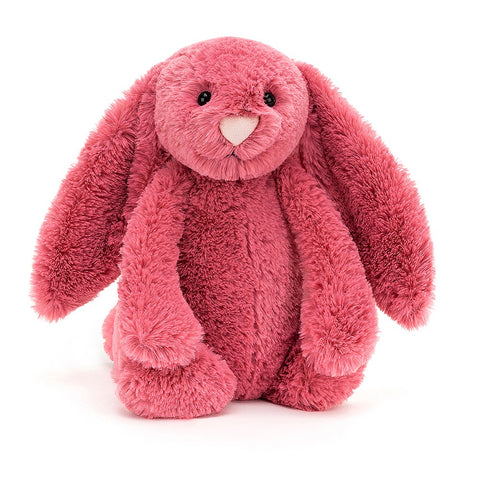 Bashful Cerise Bunny is a sorbet sweetie, with cosy fruity fur and a pastel-pink nose. With long lopsy ears and holdable paws, this tubby-tum friend loves gathering berries! Hop to it - it's time to make some jam!  Tested to and passes the European Safety Standard for toys: EN71 parts 1, 2 & 3, for all ages. Suitable from birth. Hand wash only; do not tumble dry, dry clean or iron. Not recommended to clean in a washing machine.