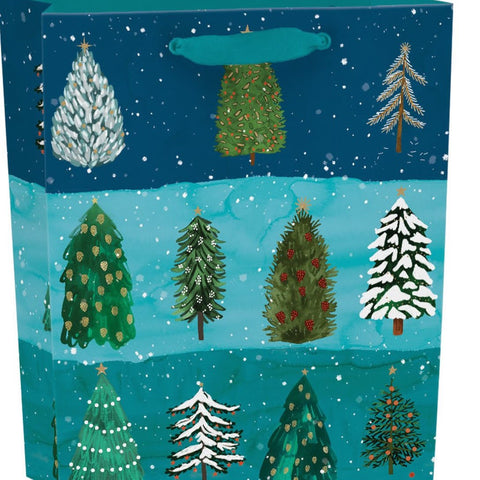 This Gift Bag is from the Christmas Conifer range featuring artwork by Katie Vernon. It comes with a gift tag attached to a ribbon handle.  Width: 216 mm Height: 254 mm