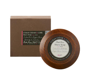 This triple-milled hard shaving soap creates a thick and creamy lather when applied with a shaving brush and warm water. This traditional method is ideal for a very close, comfortable shave. Made with natural butters and plant oils enriched with extracts to protect your skin from irritation and razor burn during shaving. After shaving, this soap leaves skin smooth and subtly scented with a masculine, warm sensual fragrance. Presented in a hand crafted wooden bowl which both protects and preserves the soap.
