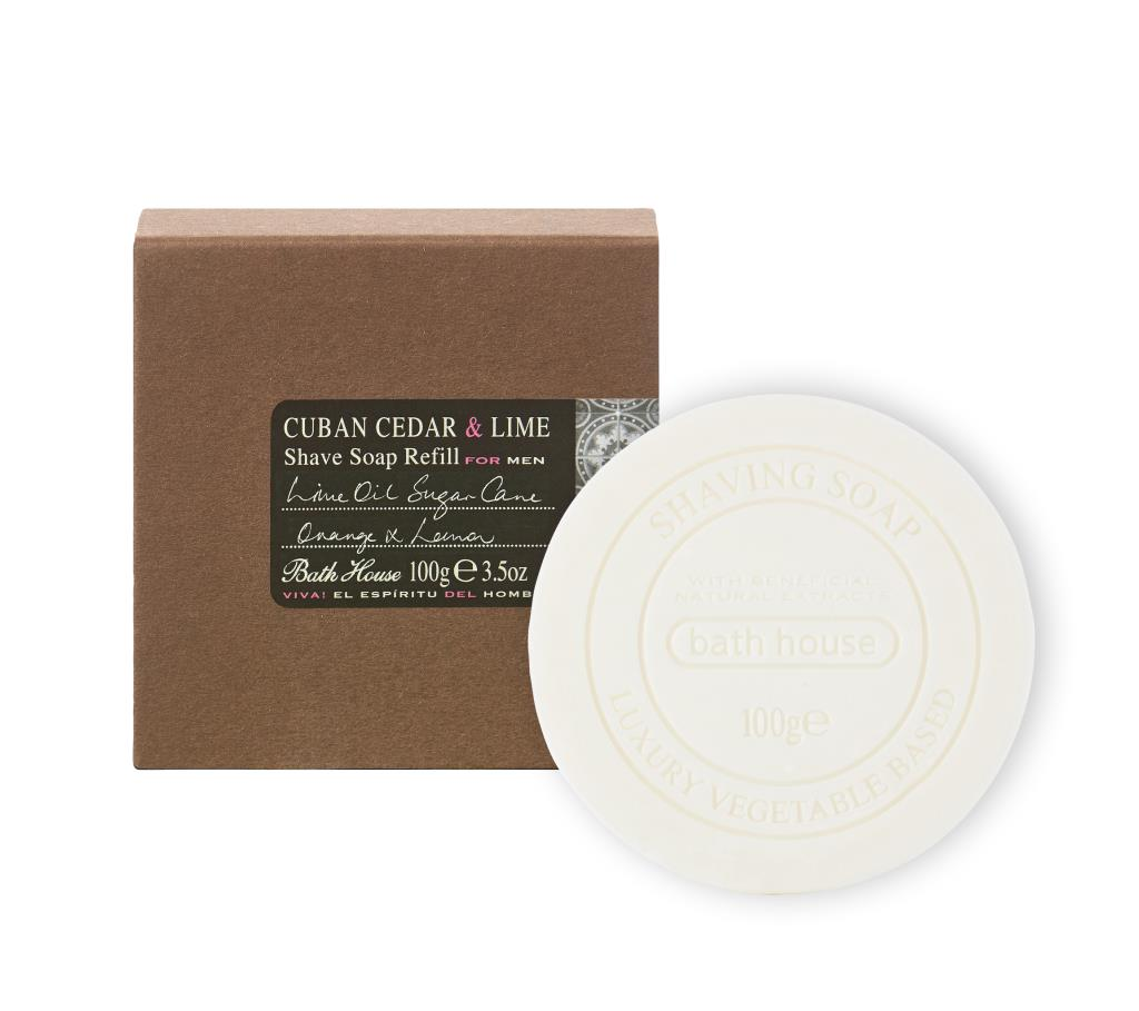 This Bath House Cuban Cedar and Lime Shaving Soap Refill is an the ideal gift for him, a classically packaged, shaving soap version of the Bath House timeless Cedar and Lime scent. The language of masculinity written in scent - the fragrance of a character from a Hemingway novel. Citrus notes of fresh lime zest, green bergamot and bitter grapefruit are layered with the pungent, dangerous sensuality of leather, musk and dry cedar.